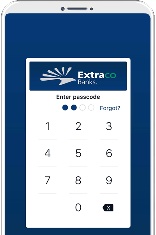 Extraco Bank Mobile App on an Android