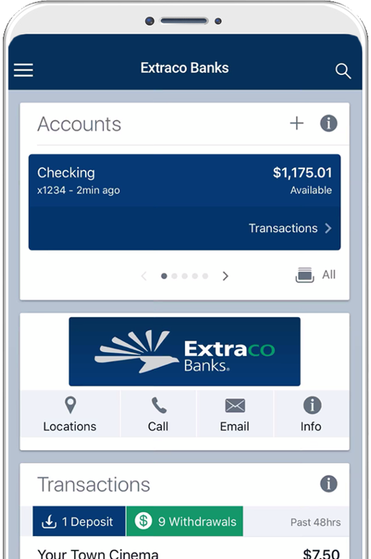 Extraco Bank Mobile App on an Apple Device